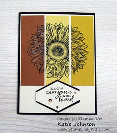 Stamp 3 flowers, cut into thirds and re-arrange the pieces. Easy beautiful fun fall card with great autumn colors. Stampin'Up!'s Celebrate Sunflowers stamp set.