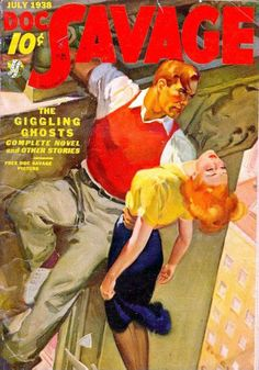 Doc Savage pulp cover girl dame woman unconscious fainted grab grasp danger rescue