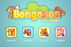 Bongobos Seizoenen. 4 gave apps van www.kleuterspel.be om de seizoenen mee te leren.