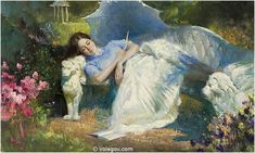 """""""Dream in the Garden"""" by Vladimir Volegov, painting, cm, oil on canvas Painting People, Figure Painting, Vladimir Volegov, Tableaux Vivants, Garden Painting, Famous Art, Hippie Art, Water Flowers, Watercolor Artists"""
