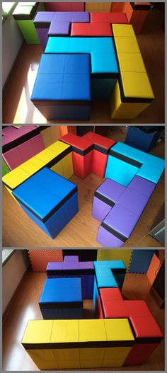 Set of 5 pieces of Tetris shaped Storage Benches by Cromaleon Maybe in treated wood for the garden??