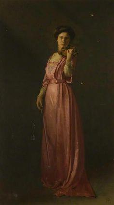 Thomas Cooper Gotch (British, 1854-1931), Mrs. Fielden, Violinist, 1912.