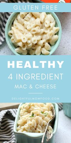 A delicious and healthy macaroni and cheese recipe that is so easy to make because it only has 4 ingredients! Your kids will love this for dinner. This recipe is also gluten free! Yummy Pasta Recipes, Gluten Free Recipes For Dinner, Gf Recipes, Cheese Recipes, Cooking Recipes, Healthy Recipes, Healthy Food, Dinner Recipes, Healthy Facts