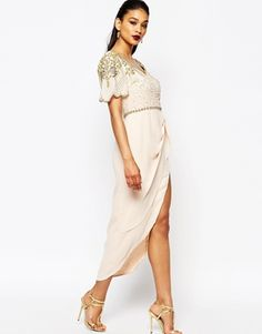 Virgos Lounge Laila Embellished Midi Dress With Thigh Split Detail $153