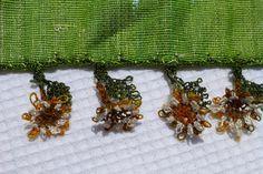 Turkısh Oya Trımmed Long Scarf / Shawl Green by Pllowcoversetc, $49.00