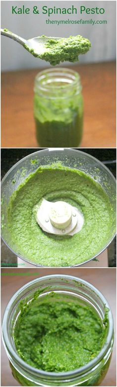 Kale & Spinach Pesto is a fresh twist on a traditional pesto that'll have you topping everything with it!