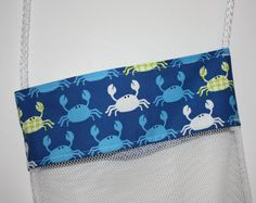 Shell Bag Crabby on Blue Mesh Beach Bag Shower by FrogBlossoms, $9.00
