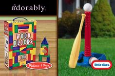 #Save on Melissa & Doug 100-piece wood blocks or a Little Tikes T-ball set at Adorably.com. Just $ 10 + shipping!