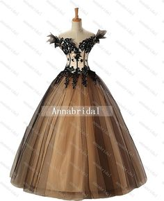 Sweetheart Gothic Wedding Dresses Vintage Sheer Off-shoulder Black Appliques with Champagne Inside Corset Long Ball Gown Bridal 2014 Cheap