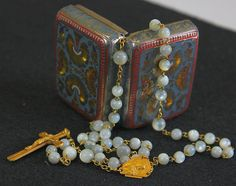 1935 Rare Solid 18K. Gold and Mother of Pearl Rosary Late Art Deco from the-swan-collection on Ruby Lane