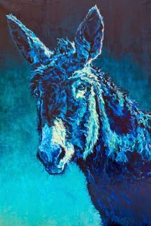 """Daily Painters Abstract Gallery: Colorful Contemporary Animal Art Donkey Painting """"Walter """"by Contemporary Animal Artist Patricia A. Griffin"""