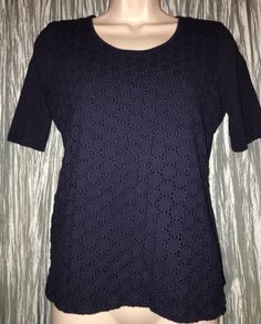 5cb01071d6753 Talbots Navy Blue Lace Overlay Front Short Sleeve Top Size s Cotton Blend  Womens