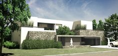 MATIAS GOYENECHEA Arquitectos | FS-EA Matte Painting, House 2, Santa Maria, White Paints, Garage Doors, Sweet Home, Stones, House Design, Patio