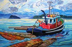Artwork by artist Greta Guzek, represented by the West End Gallery. Canadian Painters, Canadian Artists, Boat Painting, Painting & Drawing, Boat Art, Painter Artist, Paintings I Love, Naive Art, Kayaks