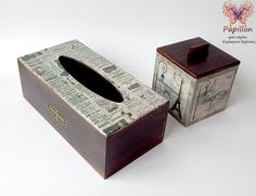 1 Tissue Box Covers, Tissue Boxes, Kleenex Box, Decoupage Box, Laser Cutting, Stencils, Gift Wrapping, Future, Handmade