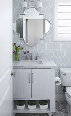 Cecy J Interiors - bathrooms - Schumacher Modern Trellis Wallpaper, blue bathroom, blue trellis wallpaper, trellis wallpaper, modern trellis. Bad Inspiration, Bathroom Inspiration, Bathroom Ideas, Bathroom Designs, Shower Ideas, Bathroom Wallpaper Modern, Trellis Wallpaper, Print Wallpaper, Modern Farmhouse Bathroom