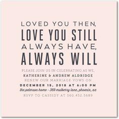 Love You Still - Signature White Vow Renewal Invitations in White or Chenille | Magnolia Press