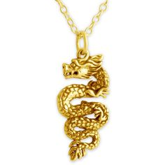 Chinese Dragon Double Sided Charm Pendant Necklace #14K Gold Plated... ($33) ❤ liked on Polyvore featuring jewelry, sterling silver jewelry, 14k pendant, gold plated pendants, sterling silver pendants and sterling silver fish pendant