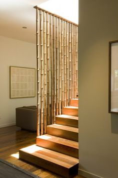 stairs and bamboo curtains