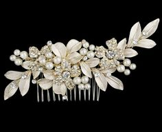 R8-5438 Pearl Bridal Headpiece Comb with Floral Detail