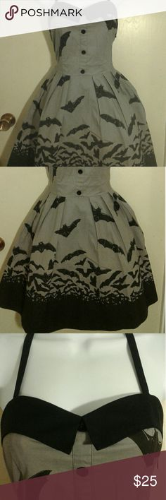 Sourpuss bat dress. Super cute right?  Black and gray Bats in the night dress. Side zipper halter. Worn once. Great condition.  Bust 32 Waist 26  This dress has stretch. Sourpuss Dresses
