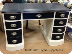 21 ideas painting furniture silver desk makeover for 2019 Furniture Fix, Do It Yourself Furniture, Handmade Furniture, Repurposed Furniture, Furniture Projects, Painted Furniture, Furniture Design, Painted Desks, Automotive Furniture