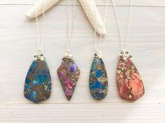 Colorful Stone Pendant Necklace Wrapped Stone by LaniMakana