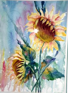 My flower watercolor paintings by judy stevenson. Sunflower Art, Watercolor Sunflower, Watercolor Flowers, Watercolor Pictures, Watercolor Landscape, Watercolour Painting, Watercolours, Beautiful Paintings, Art Projects