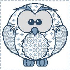 Cross Stitch Pattern: Owl Patchwork Soft Blues Design Source: Antique Chart Adaptation DMC Colors: 5 Stitch Count: 177 x 177 Approximate Finished
