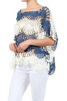 Modern Kiwi Two Tone Dolman Sleeve Crochet Knit Top Blue MediumLarge