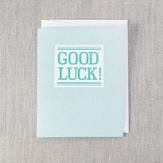 Good Luck Card - Letterpress Greeting Card, By Pike Street Press - Seattle