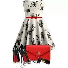 Dress killer heels red floral