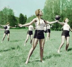 Bund Deutsches Mädel girls partaking in exercises on a warm Summer day in the Reich.