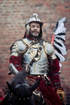 Hussar Banner Castle Gniew by Fox Lens, via Behance Character Art, Character Design, Arm Armor, Medieval Armor, Fantasy Armor, Military Art, Renaissance, Fiction, Drawings