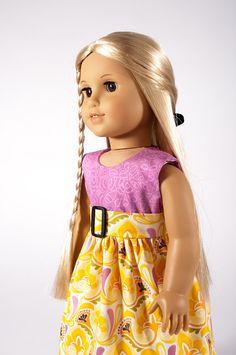 "18 inch doll clothes, empire dress for 18"" American Girl dolls, spring, orchid, yellow, modern, trendy, PattiKuz via Etsy"
