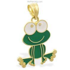 14K Yellow Gold (Nickel Free) Enameled Frog Pendant #mspiercing #piercings