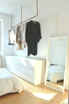 Idea for open wardrobe. Hang clothes without wardrobe – open … – Living Room Furniture – Living Room Ideas Industrial Closet Organizers, Bedroom Storage, Bedroom Decor, Bedroom Ideas, Tv Unit Bedroom, Armoire En Pin, Open Wardrobe, Wardrobe Ideas, Casa Clean