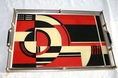 RARE Jazz Tray, Art Deco Cocktail Martini Reverse Painted Glass