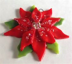 Fused Glass Christmas Ornament Poinsettia in Red