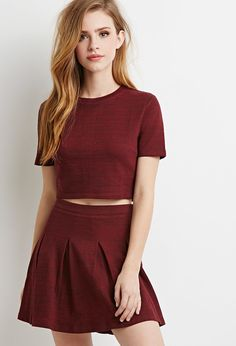 FOREVER 21 Marled Knit Pleated Skirt | Lydia Martin Style Guide