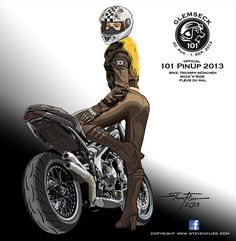 Official - Glemseck 101 Motorcycle PinUp - 2013 - Artwork. Cafe Racer, Bobber, Chopper, Racebike, Dirtbike, Riders