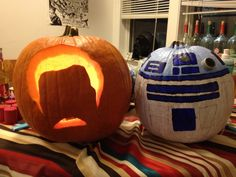 Ron Swanson and r2d2 pumpkins