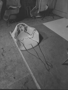Saul Steinberg drawing on an #Eames fiberglass shell