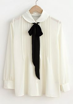 White Falbala Pleated Peter Pan Collar Chiffon Blouse