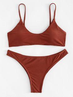 05a99ffb8078a #NewYear #ROMWE - #ROMWE Criss Cross Drawstring Bikini Set - AdoreWe.com