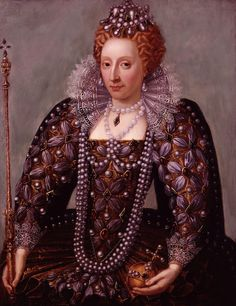 Queen Elizabeth I. With what looks like Mauve agates which we saw used in her personal travel cutlery also. Although more likely to be dyed mauve lavender pearls. With white pearls draped around her neck closer to her face and of course the magnificent Pearl Drop Earrings