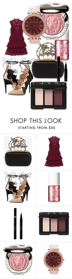 """Clutched"" by parthivi1 ❤ liked on Polyvore featuring Alexander McQueen, self-portrait, Ruthie Davis, Benefit, Sisley, NARS Cosmetics, Chantecaille and Michael Kors"