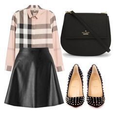 """Untitled #1682"" by carly-olly ❤ liked on Polyvore featuring Burberry, Miss Selfridge, Christian Louboutin and Kate Spade"