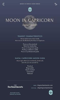 Capricorn Moon Sign and Moon in Capricorn Transit Meanings Infographic Full - zodiac, astrology, horoscopes, magic, wicca, occult, witchy, witchcraft, pagan, shaman, magick, aries, taurus, gemini, cancer, leo, virgo, libra, scorpio, sagittarius, capricorn, aquarius, pisces