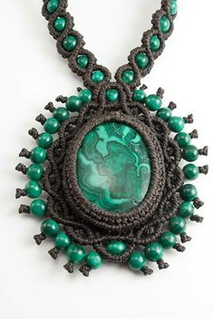 Ian Lander Jewelery : Macrame : Necklaces : Malachite